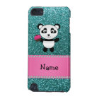 Personalised name panda cupcake turquoise glitter iPod touch (5th generation) case