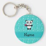 Personalised name panda cupcake turquoise hearts basic round button key ring
