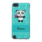 Personalised name panda cupcake turquoise hearts iPod touch 5G case