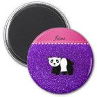 Personalised name panda indigo purple glitter magnet