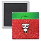 Personalised name panda neon red glitter magnet