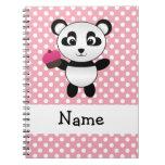 Personalised name panda with cupcake polka dots note books