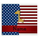 Personalised name Patriotic giraffe Poster