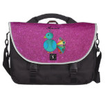 Personalised name peacock pink glitter laptop bags