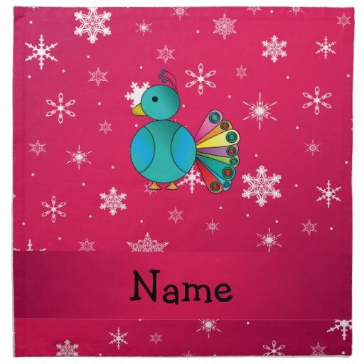 Personalised name peacock pink snowflakes cloth napkins
