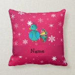 Personalised name peacock pink snowflakes cushion