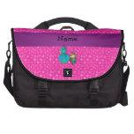 Personalised name peacock pink stars laptop messenger bag
