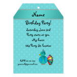 Personalised name peacock turquoise polka dots custom invitation