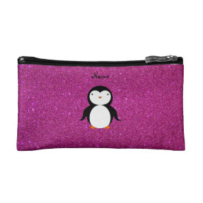 Personalised name penguin pink glitter makeup bag
