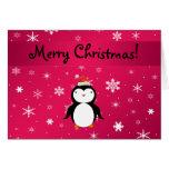 Personalised name penguin pink snowflakes greeting card