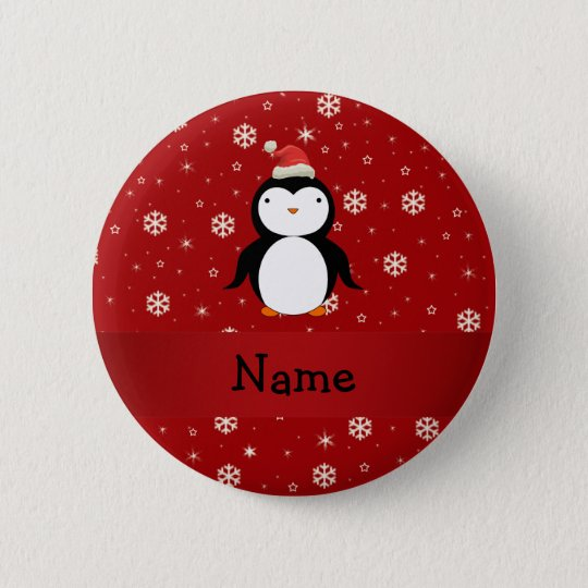 Personalised name penguin red snowflakes 6 cm round badge