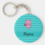 Personalised name pig cupcake turquoise chevrons basic round button key ring