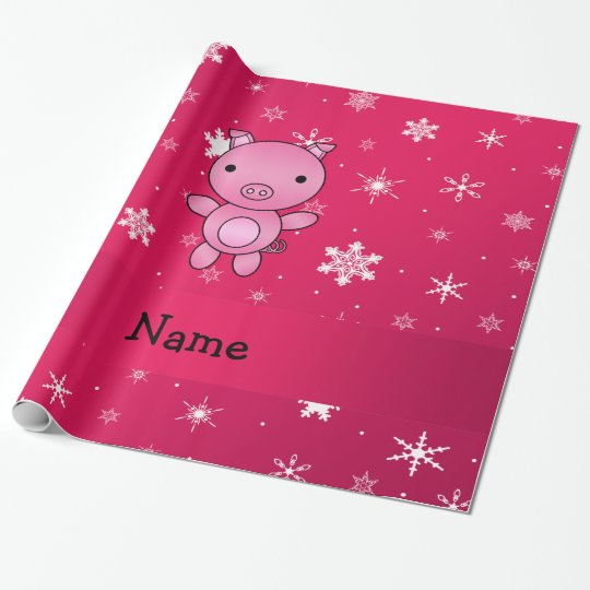 Personalised name pig pink snowflakes wrapping paper