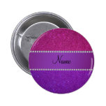 Personalised name pink and purple glitter badge