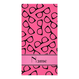 Personalised name pink black glasses photo card