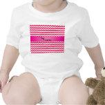 Personalised name pink chevrons baby bodysuit