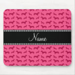 Personalised name pink dachshunds mouse pad