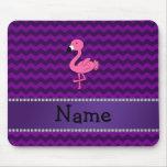 Personalised name pink flamingo purple chevrons mousepad