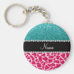 Personalised name pink giraffe turquoise glitter