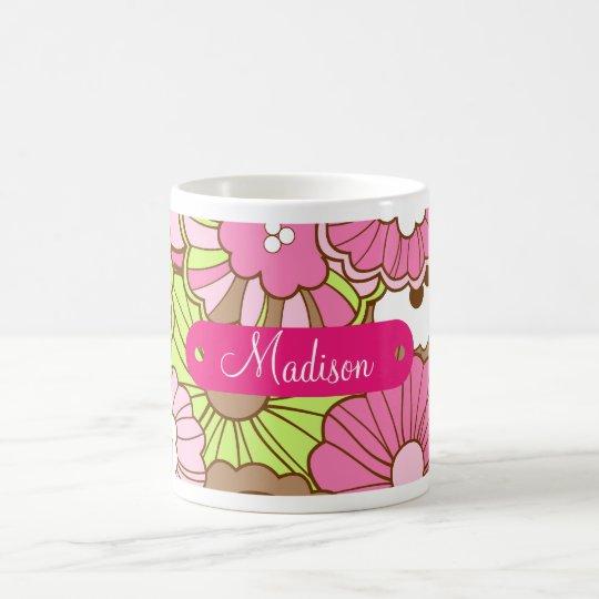 Personalised Name Pink Green Flowers Pattern Coffee Mug