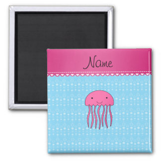 Personalised name pink jellyfish blue bubbles square magnet