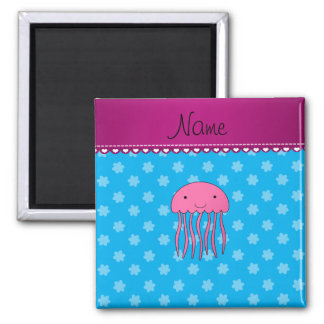 Personalised name pink jellyfish blue flowers square magnet