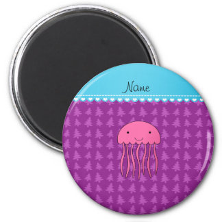 Personalised name pink jellyfish purple trees 6 cm round magnet