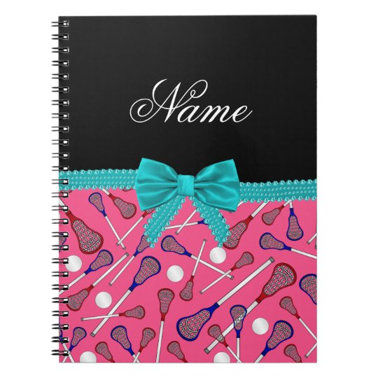 Personalised name pink lacrosse turquoise bow notebooks