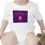 Personalised name pink owl purple hearts bodysuits