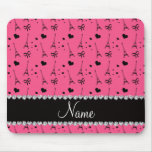 Personalised name pink paris eiffel tower mouse pad