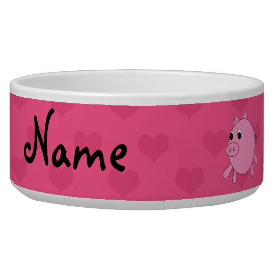 Personalised name pink pig hearts