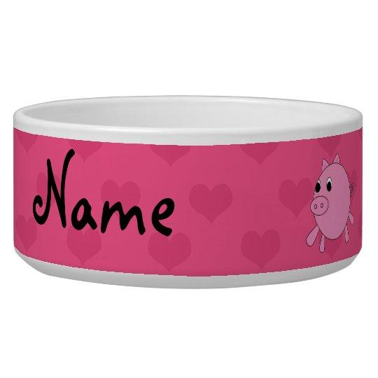 Personalised name pink pig hearts pet water bowls