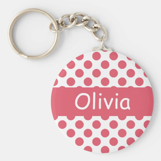 Personalised Name Pink Polka Dots Keychains