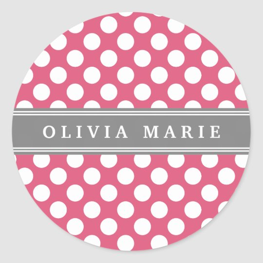 Personalised Name Pink Polka Dots Pattern Classic Round Sticker