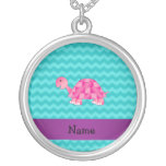 Personalised name pink turtle necklaces