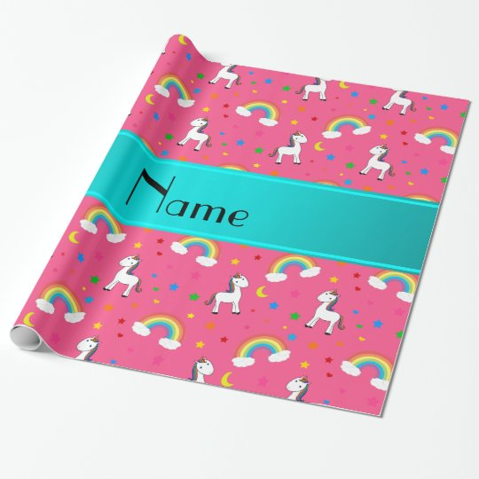 Personalised name pink unicorns rainbows wrapping paper