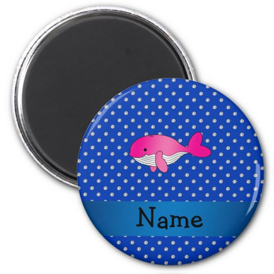 Personalised name pink whale blue diamonds 6 cm round magnet
