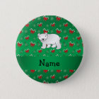 Personalised name polar bear green candy canes bow 6 cm round badge
