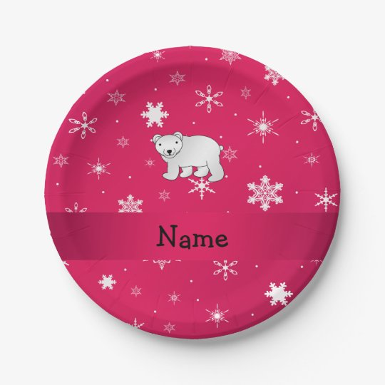 Personalised name polar bear pink snowflakes 7 inch