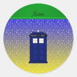 Personalised name police box blue yellow stars round sticker