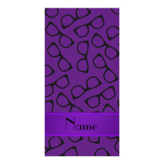 Personalised name purple black glasses customized photo card