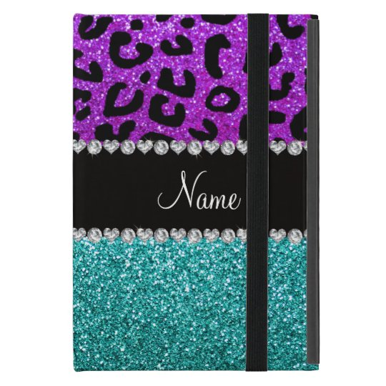Personalised name purple cheetah turquoise glitter iPad mini