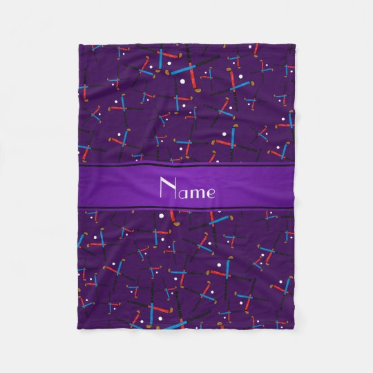 Personalised name purple field hockey fleece blanket
