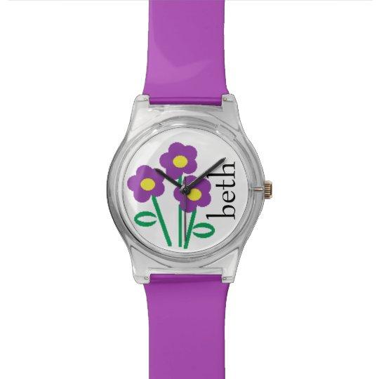 Personalised Name Purple Floral Flower Watch