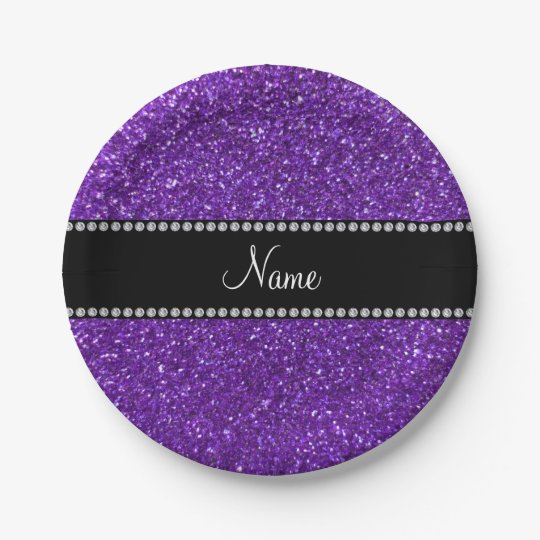 Personalised name purple glitter 7 inch paper plate