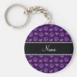 Personalised name purple hearts and paw prints