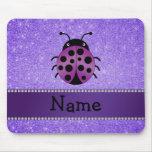Personalised name purple ladybug purple glitter mouse pad