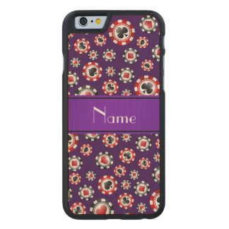 Personalised name purple poker chips carved® maple iPhone 6 slim case