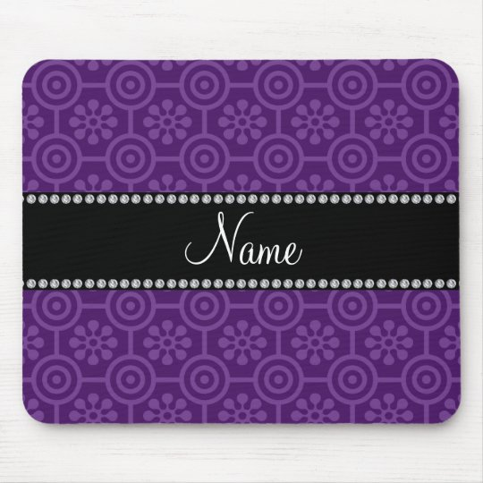 Personalised name purple retro flowers mouse pad