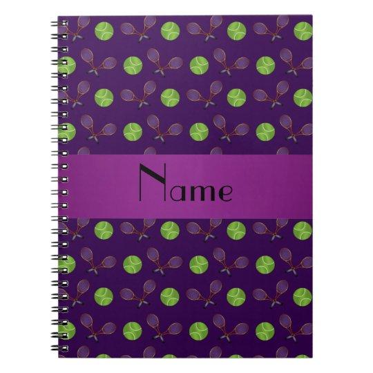 Personalised name purple tennis balls notebooks